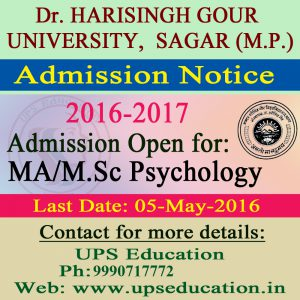 Admission Open for MA/M.Sc Psychology