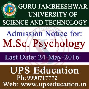 Admission Open for MSc Psychology