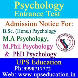 Admission open in Psychology Entrance exams