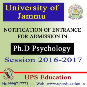 Admission Open in Ph.D. Psychology