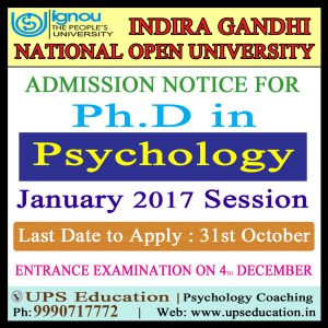 Entrance Exam for Ph.D Psychology