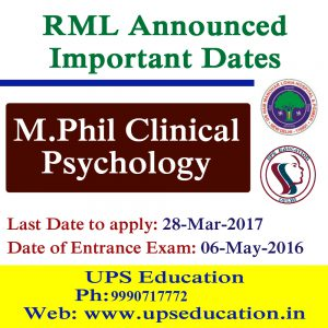 M.Phil Clinical Psychology Admission Open