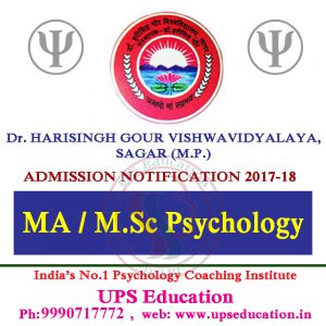 MA/M.Sc Psychology Admission 2017