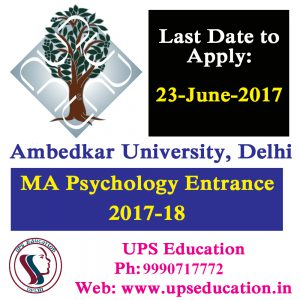 MA Psychology Admission 2017