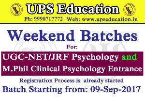 Weekend batches for  M.Phil Psychology Entrance
