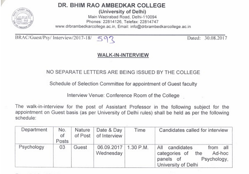 WALK-IN-INTERVIEW FOR PSYCHOLOGY FACULTY
