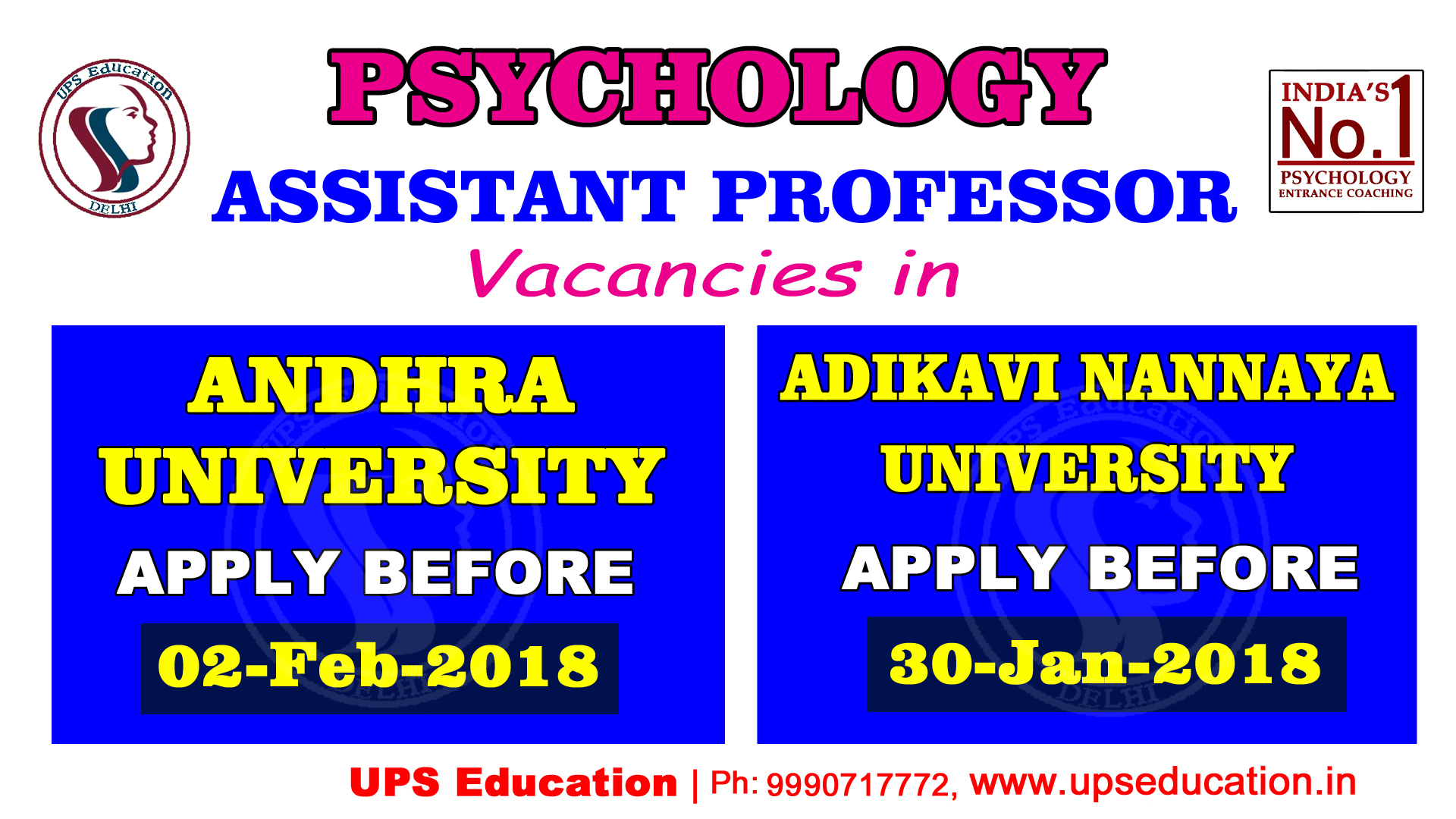 Psychology Assistant Professor vacancy – UPS Education – UPS